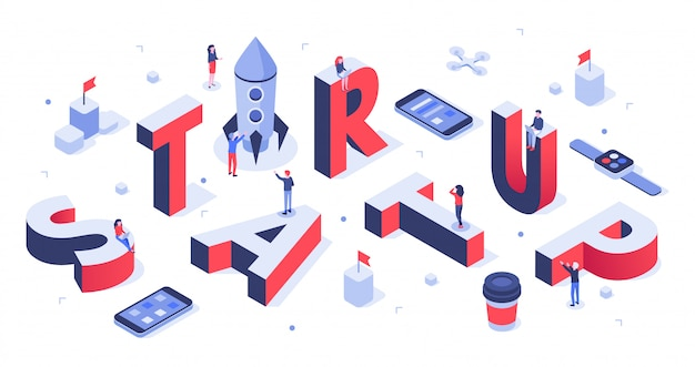 Letras de inicio lanzamiento de la empresa, banner comercial de startups e ilustración de fondo creativo abstracto