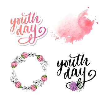 Letras del lema del fondo amarillo del día internacional de la juventud