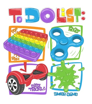 Letras de la lista de tareas con dibujos de juguetes coloridos diferentes para el diseño de impresión de camisetas