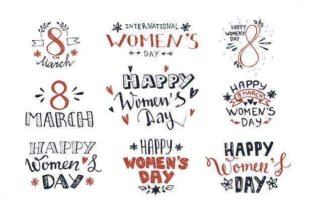 Letras de mano para el día de la mujer.