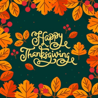 Letras de mano feliz acción de gracias con hoja de otoño