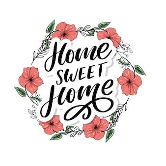 Letras de mano 'hogar dulce hogar', cuarentena pandemia carta texto palabras caligrafía ilustración lema