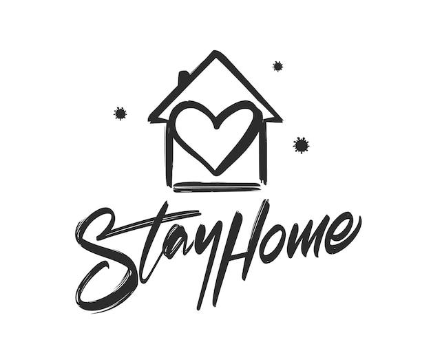 Letras manuscritas de stay home con casa dibujada a mano, corazón y virus