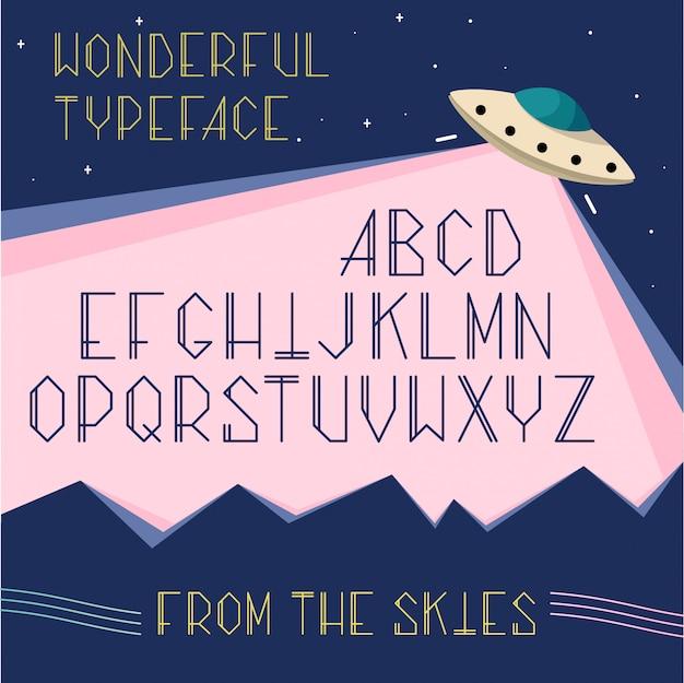 Letras mayúsculas del alfabeto en el espacio, concepto de ufo. fuente de dibujos animados cosmos para tipografía.