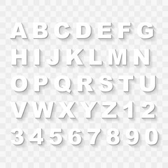 Letras mayúsculas del alfabeto y números con sombra plana