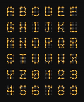 Letras mayúsculas electrónicas amarillas del alfabeto en la composición realista de la placa del aeropuerto negro y la ilustración de números