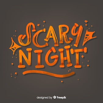 Letras de miedo noche sobre fondo negro