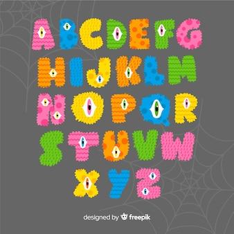 Letras del monstruo del alfabeto de halloween