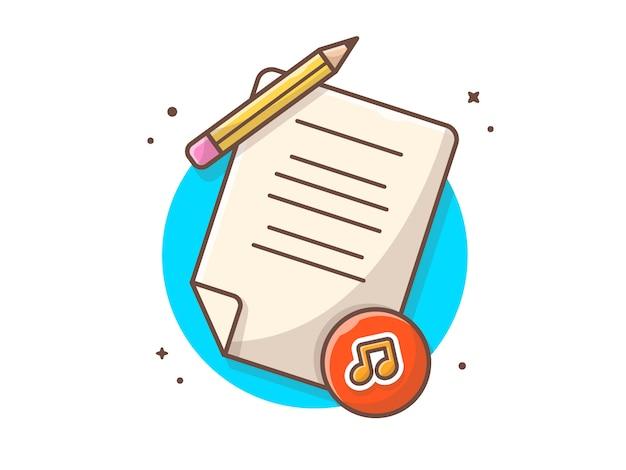 Letras de música con lápiz, melodía y nota de música. licencia de contrato de música blanca aislada