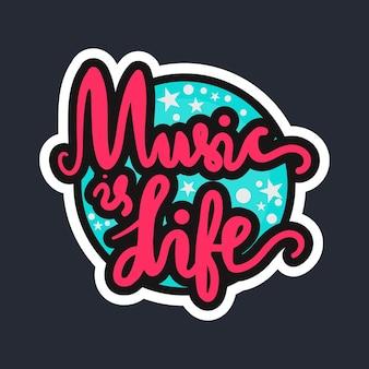Letras musicales vintage para banner e insignia. plantilla de diseño de tarjeta de pegatina, cartel, festival y concierto. la música es vida. vector