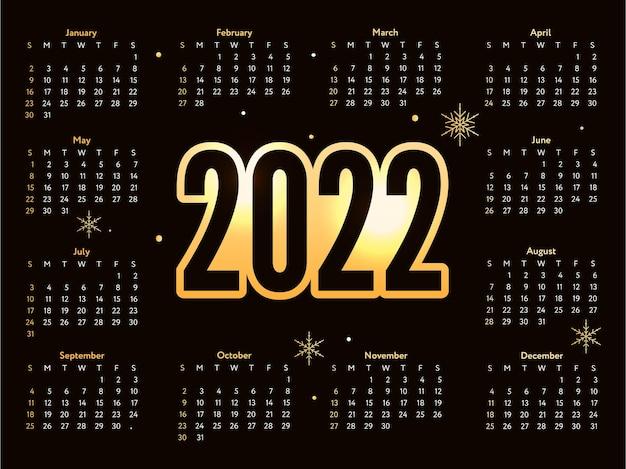 Letras de navidad calendario de bosquejo de año nuevo dorado la semana comienza el domingo