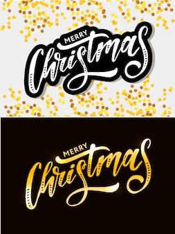 Letras de navidad caligrafía, etiqueta engomada texto de navidad dorado
