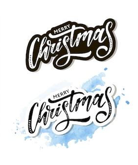 Letras de navidad caligrafía pincel texto etiqueta de vacaciones oro
