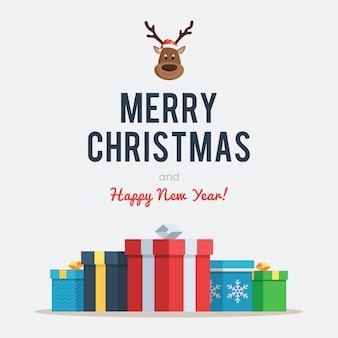 Letras navideñas con ciervos y cajas.