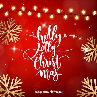 Letras navideñas con elementos realistas