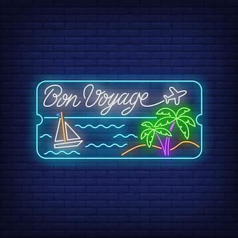Letras de neón bon voyage con playa de mar, palmeras y barco.