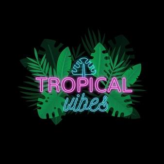 Letras de neón tropical con hojas o flores.