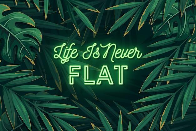 Letras de neón tropical con hojas