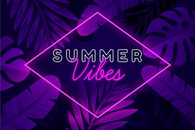Letras de neón tropical con vibraciones de verano