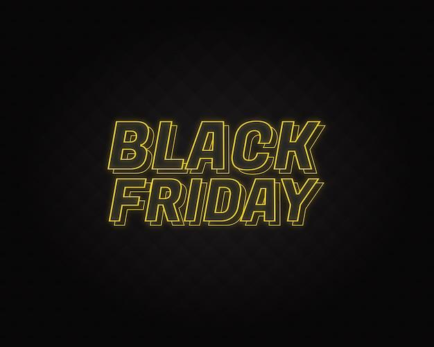 Letras de neón de viernes negro con patrón negro en backgroung