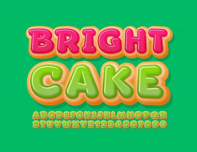 Letras y números del alfabeto de la torta brillante del vector. fuente tasty donut