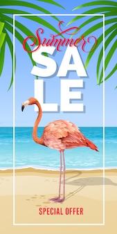 Letras de oferta especial de venta de verano en marco con playa de mar y flamenco.