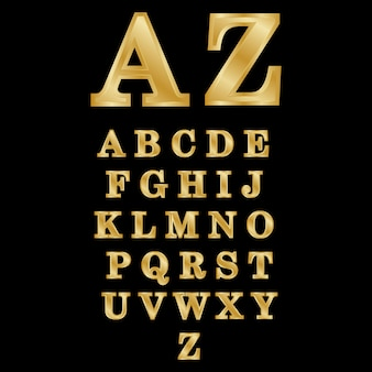 Letras de oro 3d az ilustración vectorial