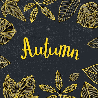 Letras de otoño, hojas dibujadas a mano alrededor. negro y amarillo, estilo pizarra. tarjeta, cartel, cartel