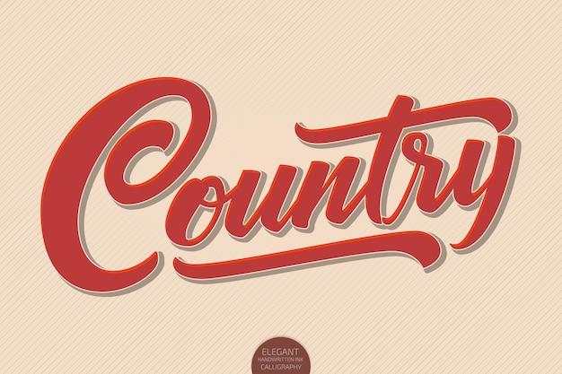 Letras de país volumétricas dibujadas a mano