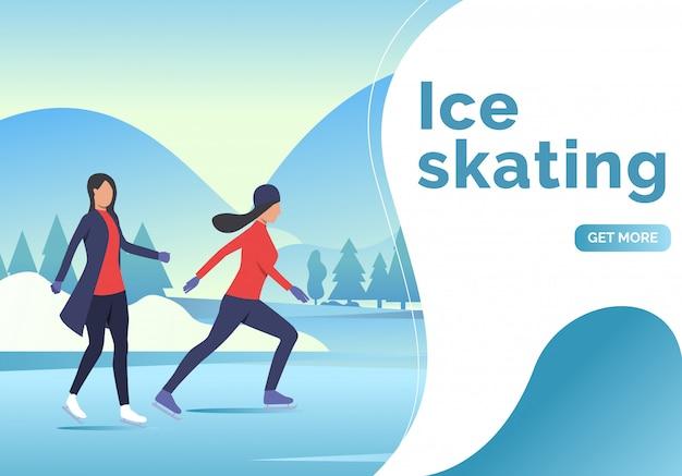 Letras de patinaje sobre hielo, dos patinadoras y paisaje nevado.