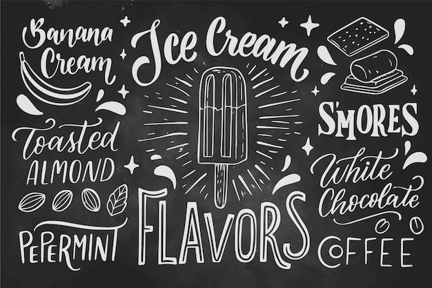 Letras de pizarra de helado dibujado a mano