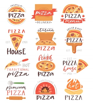 Letras de pizza signo de comida italiana de pizzería o pizzería para tipografía imprimir ilustración conjunto de pastel horneado o pizzaoven en banner