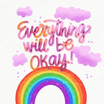 Letras positivas con arcoiris