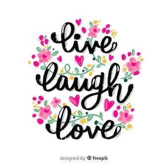 Letras positivas con flores rosadas