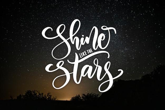 Letras positivas con paisaje nocturno