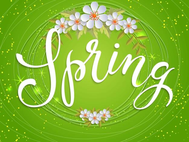 Letras de primavera con corona de flores blancas
