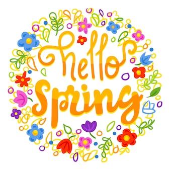 Letras de primavera con decoración colorida