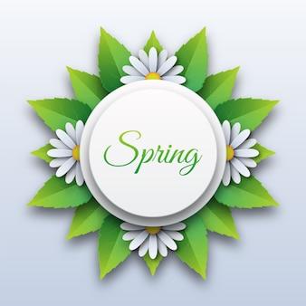 Letras de primavera con flores y hojas de papel cortado