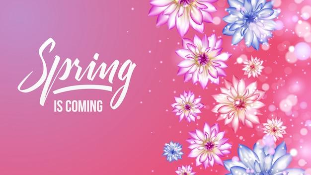 Letras de primavera con fondo degradado