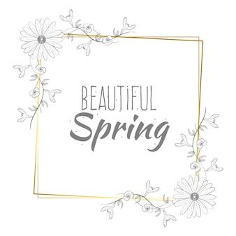 Letras de primavera hermosa en marco dorado