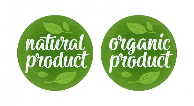 Letras de productos orgánicos naturales con hoja. ilustración vintage verde oscuro