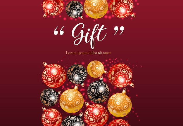 Letras de regalo con motivos de adornos.