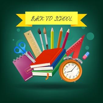 Letras de regreso a la escuela en cinta amarilla con suministros