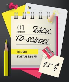 Letras de regreso a la escuela con cuaderno y sacapuntas.