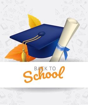 Letras de regreso a la escuela con gorro de graduación y garabatos