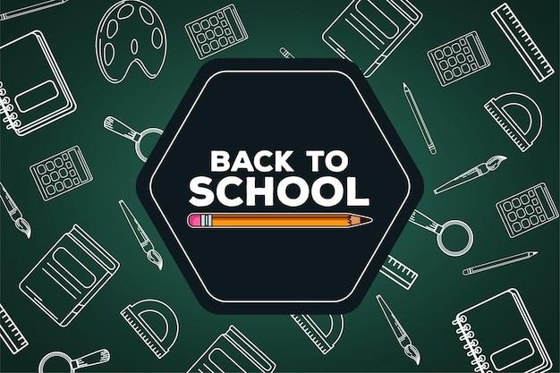 Letras de regreso a la escuela con lápiz en pizarra