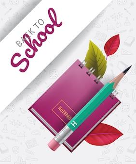 Letras de regreso a la escuela con libreta, lápiz y garabatos.