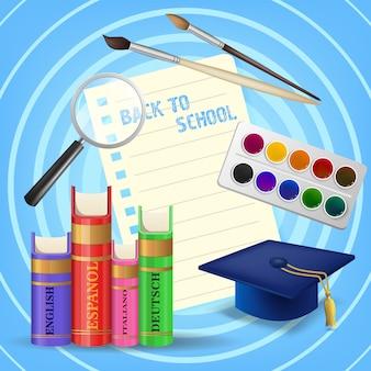 Letras de regreso a la escuela con libros de texto y pinturas.