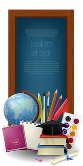 Letras de regreso a la escuela en marco y suministros