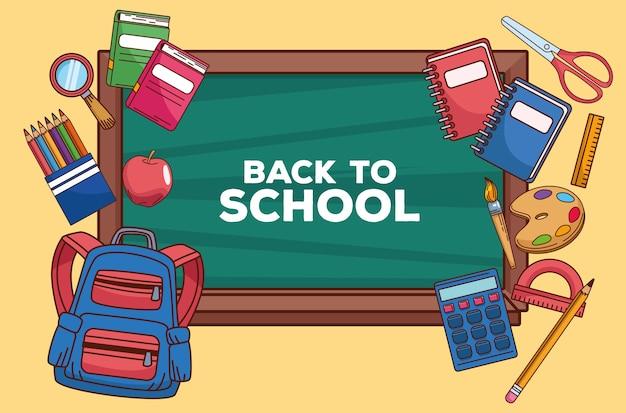 Letras de regreso a la escuela en pizarra con suministros